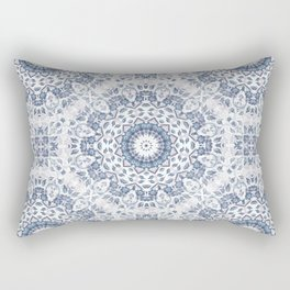 Grayish Blue White Flowers Mandala Rectangular Pillow
