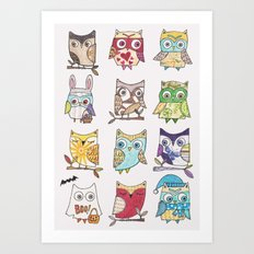 monthly owls Art Print