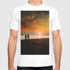 Sunset over Mytilene Mens Fitted Tee White MEDIUM