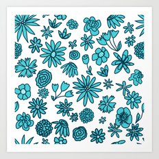Blue Flowers on White Art Print