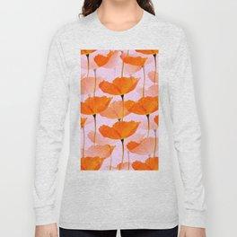 Orange Poppies On A Pink Background #decor #society6 #buyart Long Sleeve T-shirt