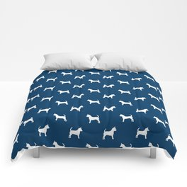 Chihuahua silhouette navy and white pet pattern dog pattern minimal chihuahuas Comforters