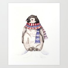 Baby Penguin in Red and Blue Scarf. Winter Season Art Print
