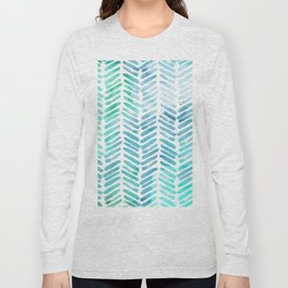 Handpainted Chevron pattern - light green and aqua - stripes Long Sleeve T-shirt