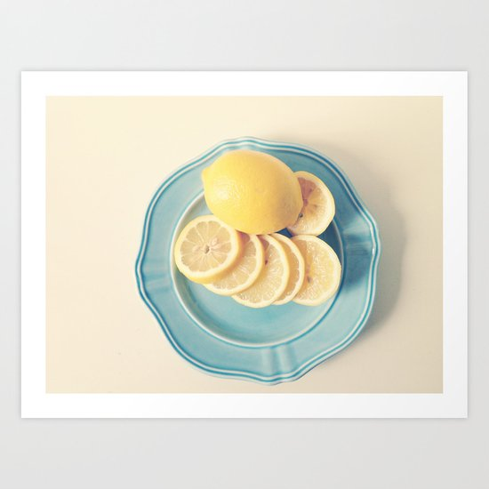 Lemons on Blue Art Print