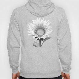 White Sunflower Black Background Hoody
