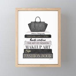 Fashion books, fashion illustration, grey, Black and white, Bag, Hand bag, Style, Art of fashion Framed Mini Art Print
