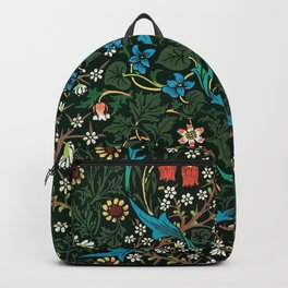 William Morris Tulips, Blue Columbine, Orchids, & Sunflowers Textile Flower Print Backpack