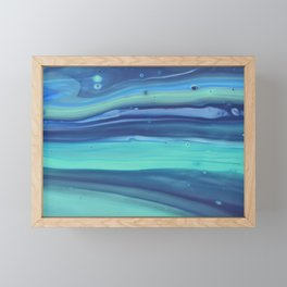 Shades of Blue Abstract Stripes Framed Mini Art Print