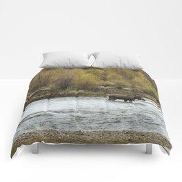 Moose Mid-Stream - Grand Tetons Comforters