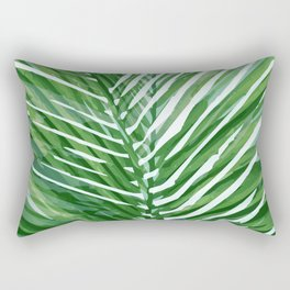 Abstract Palm Leaves | Green Rectangular Pillow