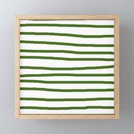 Simply Drawn Stripes in Jungle Green Framed Mini Art Print