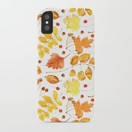 Watercolor autumn leaves seamless pattern on white background. Maple leave, hawthorn leave, birch le iPhone Case
