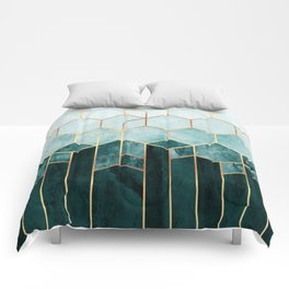 Teal Hexagons Comforters