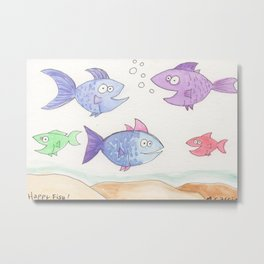 Happy Fish! by Cassie, Group of 5 Metal Print