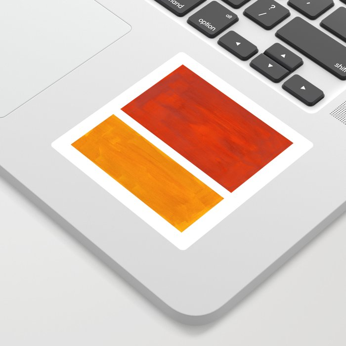 Burnt Orange Yellow Ochre Mid Century Modern Abstract Minimalist Rothko Color Field Squares Sticker