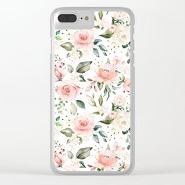 Sunny Floral Pastel Pink Watercolor Flower Pattern Clear iPhone Case