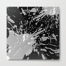 Paint Splash Mono Metal Print