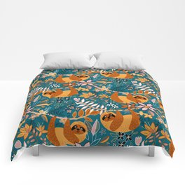 Happy Boho Sloth Floral Comforters