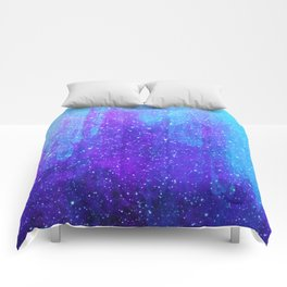 Space Ice Starfield Blue and Purple Comforters