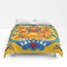 China Emperor Robe Inspired Smiling Dragon Comforters