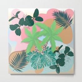 Modern Pink Mint Tropical Foliage Creative design Metal Print
