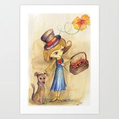 Flower Girl and her friend Art Print