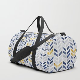 Herringbone chevron pattern.Indigo faux gold acrylic canvas Duffle Bag