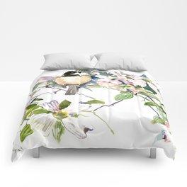 Chickadee and Dogwood Flowers Comforters