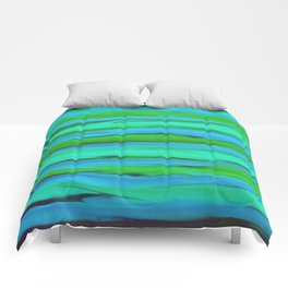 Apple Green, Seafoam, and Azure Blue Stripes Abstract Comforters
