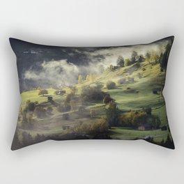 Mountain Village Swept in Fog Rectangular Pillow