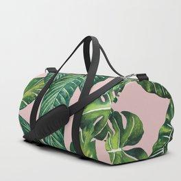 Jungle Leaves, Banana, Monstera II Pink #society6 Duffle Bag