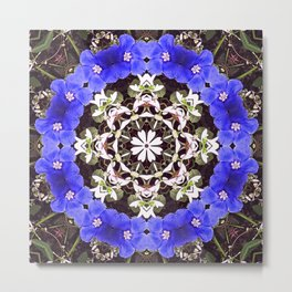 Blue and white floral mandala - Evolvulus and Diamond frost flowers 1 Metal Print