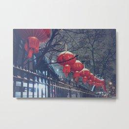 Red Lanterns in Chinatown, NYC Metal Print