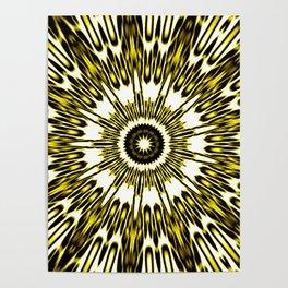 Yellow White Black Sun Explosion Poster