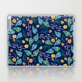 Watercolour dark blue seamless pattern background with whimsical flowers. Laptop & iPad Skin