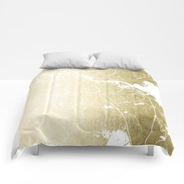 Amsterdam Gold on White Street Map Comforters