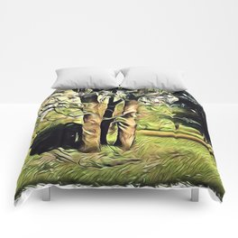 Trees In Surrealism Art Comforters