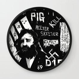 Serial Killer 3: Manson (b&w) Wall Clock