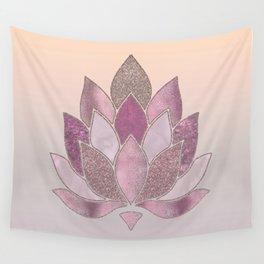 Elegant Glamorous Pink Rose Gold Lotus Flower Wall Tapestry