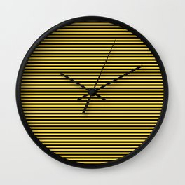 Even Horizontal Stripes, Yellow and Black, XS Wall Clock