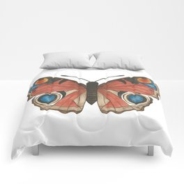 Peacock Butterfly Illustration Comforters