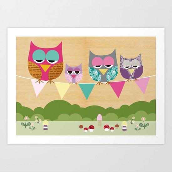 Cute owls on a flag banner Art Print
