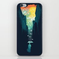 blue iPhone & iPod Skins featuring I Want My Blue Sky by Picomodi