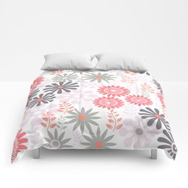 Floral pattern in pink and gray Comforters
