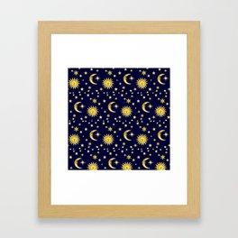 Sun, Moon & Stars Framed Art Print