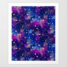 Zodiac - Watercolor Dark Art Print