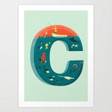 Plenty of Fish in the C  (blue) Art Print