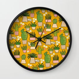 Cactus Cat Yellow Garden Wall Clock