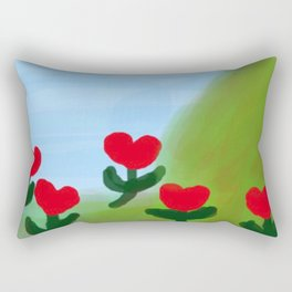 Hearts from a Rose Red and Green Rectangular Pillow